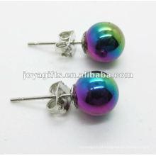 8MM Hematita Round Beads Stud Earring, cor do arco-íris