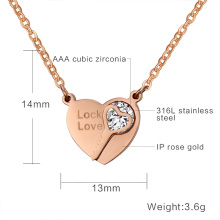 Elegant women AAA+ CZ stone pendants for women wedding jewelry heart key necklaces&pendants