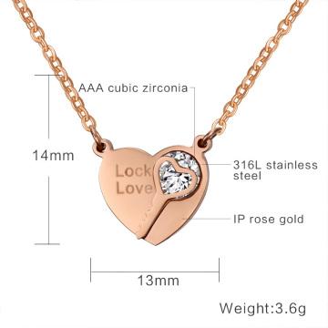 Femmes élégantes pendentifs pierres AAA + CZ pour femmes, bijoux de mariage coeur colliers clés & pendentifs