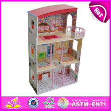 2014 New Cute Kids Wooden Doll House Toy, Popular Lovely Children Wooden Doll House, Fashion DIY Wooden Doll House Factory W06A081