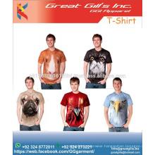 animal 3 D printed cotton cool design t shirts