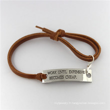 Bracelet en cuir Bracelet en acier inoxydable Bijoux en cuir