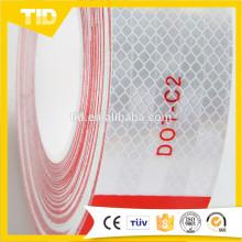 Fita reflexiva vermelha e branca DOT-C2
