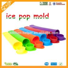 Aprovado pela FDA BPA Livre ECo-friendly Round Cap Silicone Popsicle Mold