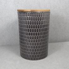 Tarro de almacenamiento de cerámica en relieve con tapa de bambú