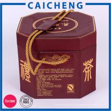 Boîte de carton de boîte d'emballage de thé de cylindre imprimé par coutume avec la poignée
