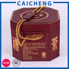 Custom printed cylinder tea packaging box cardboard box with handle