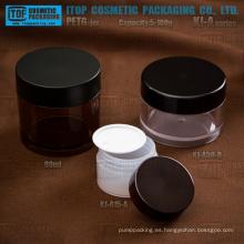 KJ-A serie 5-100g PETG material pared gruesa redonda tarro transparente de plástico con tapas