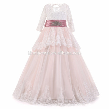 2017 new fashion baby girl dress Floor length Aline lace girl dress for party