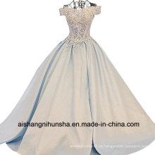 Frauen-Satin-Spitze-Blumen-langes Abend-Partei-Abschlussball-Kleid
