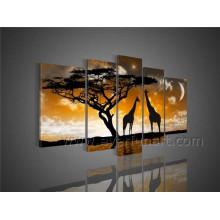 Handmade African Art Giraffe Oil Painting on Canvas for Home Decor (AR-098)