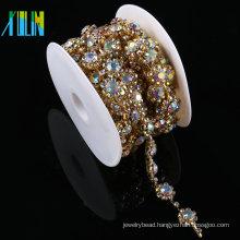 Rhinestone Embellishment Gold Glass Crystal Trim Costume Trimmings