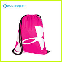 Promotional Pink Polyester Drawstring Bag