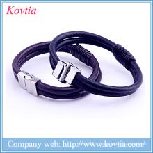 Bracelet en cuir tressé en acier titane Bracelet boucle aimant homme