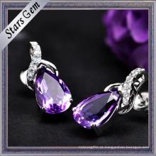 Ametista Natural roxa escura da forma da pera para a jóia