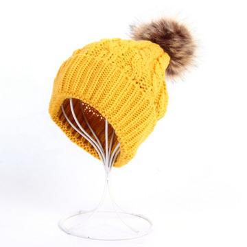 Sombrero grueso de las gorritas tejidas de las mujeres para hombre del casquillo de la bola de la piel falsa POM POM (HW100)