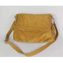 Guangzhou Supplier Fashionable 2 Side Pockets Genuine Leather Womens Cross Bag (156)