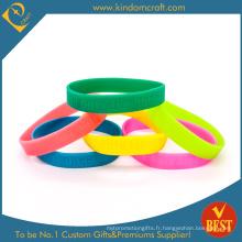 Bracelets promotionnels en caoutchouc de silicone gaufrés (LN-027)