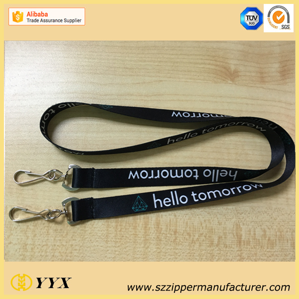 sublimation lanyard with two clips