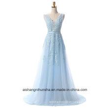 Mulheres Lace V-Neck Long Evening Partido Prom Dress
