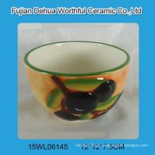 Handpainting cerâmica tigela com azeitona design para cozinha
