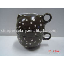 2pcs coffee set with ceramic milk jar and cup for BS09010