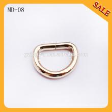 MD08 La hebilla de correa caliente del anillo del metal d del bolso de la venta, anillo de la hebilla de la forma de D para los bolsos