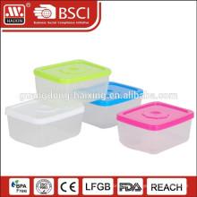 Récipient alimentaire transparent avec couvercle coloré, produit en plastique