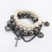 Latest design christ style vintage pearl beads multilayer elastic bracelet