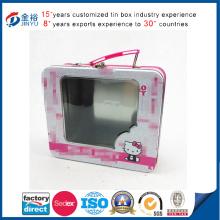 Großhandel Metall Blech Lunch Box mit Griff und PVC Fenster
