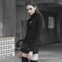 OPT-305 PUNKRAVE Heart hollowing  tight sweater with rope hollow out sexy sweater winter t-shirt