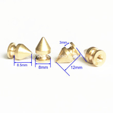 Brass Cone Spikes Screwback Studs for DIY Leathercrafts