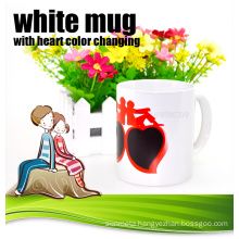 white mug with heart color changing