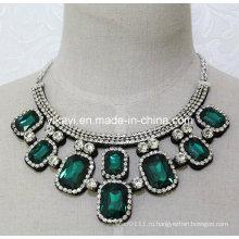 Женская мода зеленый квадрат стекло Кристалл Кулон воротник ожерелье (JE0204)