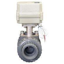 Vanne à boisseau automatique à moteur à moteur en PVC Valve de contrôle électrique Eau Vanne en PVC (A100-T32-P2-C)
