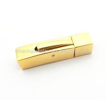 BX113 Vente en gros de bijoux en acier inoxydable trouvant Golden Square fermoir en acier inoxydable pour bracelets à corde