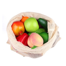 Eco friendly certified organic cotton storage mesh bags set with drawstring