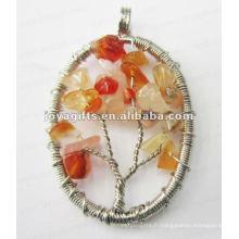 Perle en pierre d'agate rouge Pendentif à l'arbre chanceux