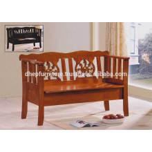 Silla de banco clásica de madera para interiores con respaldo y asiento de almacenamiento