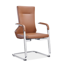Luxury Leather Waiting Chair, Metal Office Reception Chair with Bow Feet