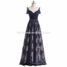 2017 новая мода синий цвет спинки вечернее платье глубокий V шеи длина пола невесты платье для свадьбы