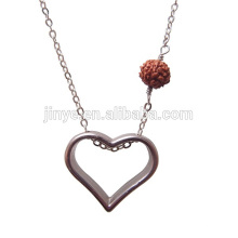 Fashion Simple Open Heart Necklace With Rudraksha Beads