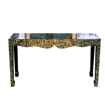 CANOSA Black mother of pearl covered wall table with wood