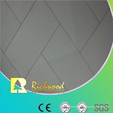 Piso laminado acanalado comercial de la teja del alto brillo de 12.3mm AC4