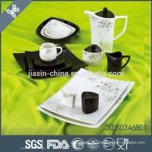 46PCS Square shape Porcelain Dinner Set, decal print dinnerware