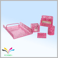 red metal wire mesh 5 pieces stationery office set