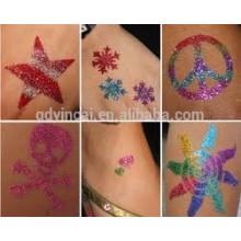 Fashion glitter glue style Temporary Tattoo Sticker(customized design)