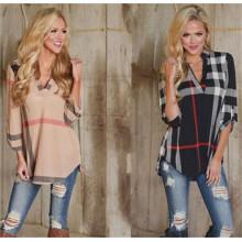 V-pescoço das mulheres quentes vendidos verificou a camisa (80004)