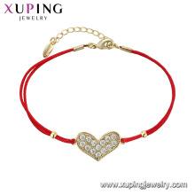 75547 xuping mais recente projeto simples atacado pulseira de forma bonito coração para meninas
