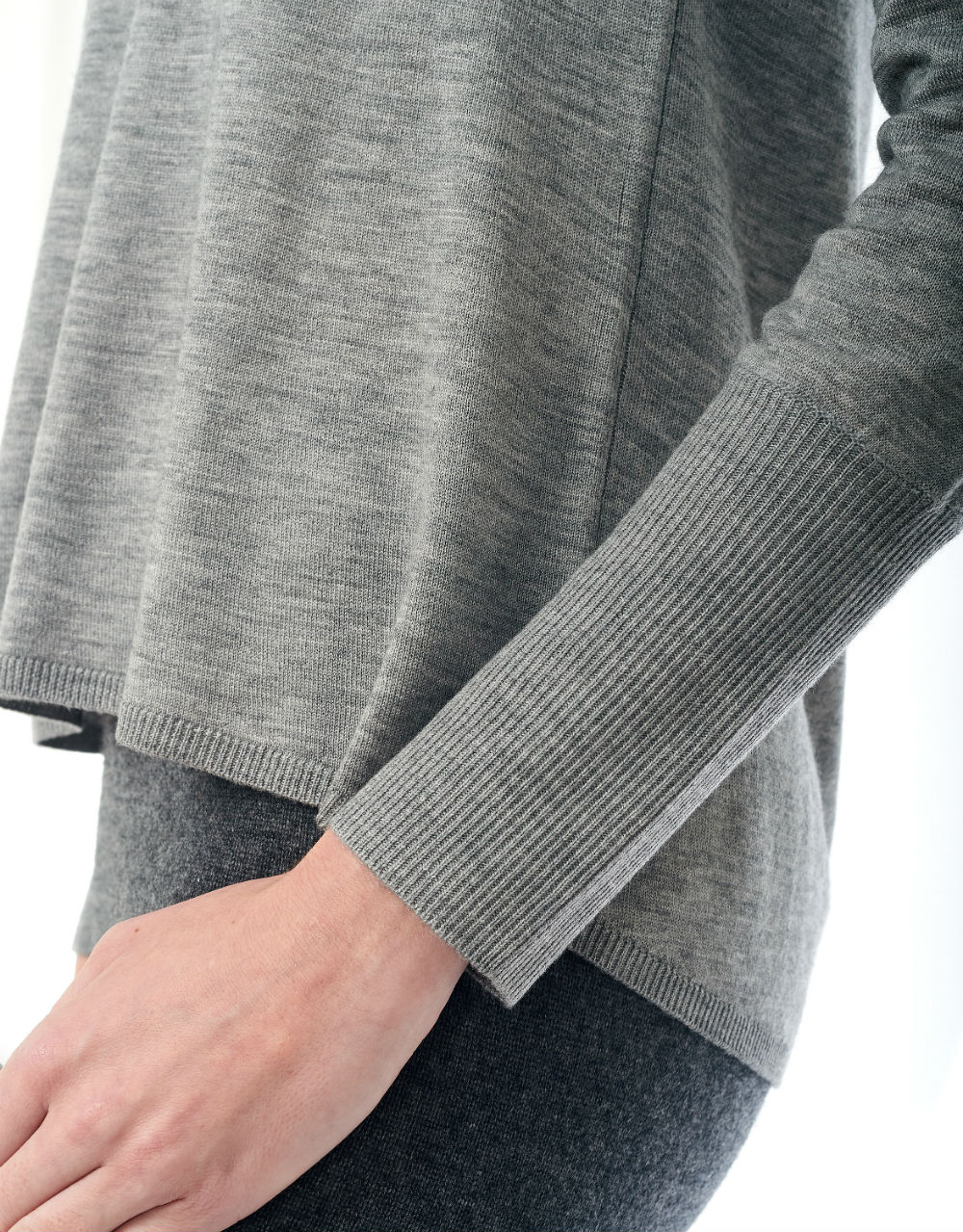 light gray deep v neck sweater details